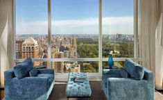 Surplus seating area with Central Park and city backdrop.