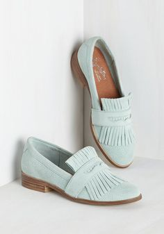 Stray Loafer by Seychelles - Blue, Solid, Fringed, Work, Casual, Pastel, Minimal, Exceptional, Pastel, Leather