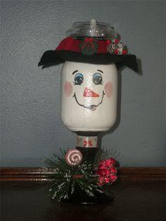 Small mason jar glued to candlestick