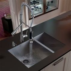 """29"""" w  Vigo Undermount Stainless Steel Kitchen Sink, Faucet and Dispenser"""