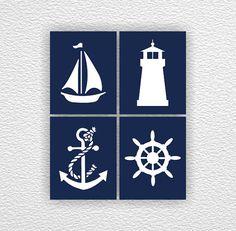 Navy Blue White Nautical Nursery Anchor by myfavoritedecor on Etsy Nautical Bathroom Decor, Nautical Nursery, Coastal Decor, Navy Nursery, Nursery Prints, Cuadros Diy, Beach House Decor, Navy And White, Navy Blue