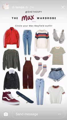 the max wardrobe Vintage Outfits, Retro Outfits, Trendy Outfits, Cute Outfits, 80s Party Outfits, 80s Outfit, Stranger Things Max, Stranger Things Netflix, Disfraces Stranger Things