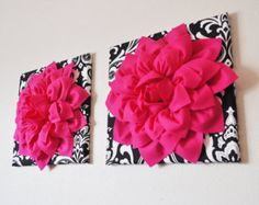 """TWO Wall Flowers -Hot Pink Dahlia Flowers on Black and White Damask Print 12 x12"""" Canvas Wall Art- Baby Nursery Wall Decor-"""