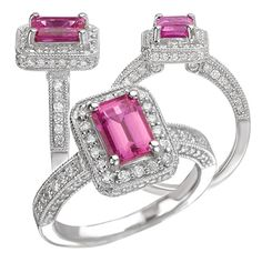 18k Chatham 7x5mm emerald cut pink sapphire engagement ring with natural diamond halo