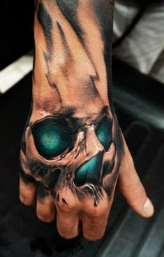 that color is great. Artist Ozone Ofk Nico 3d emerald skull tattoo.