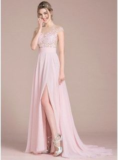 A-Line Princess Scoop Neck Sweep Train Chiffon Prom Dress With Split Front