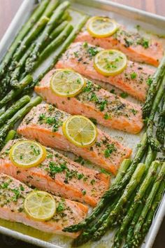 One-Pan Salmon Asparagus recipe with a lemon-garlic-herb butter. Every bite is s… One-Pan Salmon Asparagus recipe with a lemon-garlic-herb butter. Every bite is so juicy and flavorful! A reader favorite, salmon dinner. trying new recipes Seafood Recipes, Cooking Recipes, Healthy Recipes, Dinner Recipes, Healthy Asparagus Recipes, Easy Cooking, Fish Recipes Diet, Baked Salmon Recipes Healthy, Cooking Gadgets