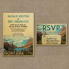 Montana Wedding Invitation - Printable Montana Wedding Invites - Montana Glacier National Park Nature Retro Wedding Suite or Solo VTW