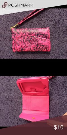Cell phone case, wallet holder Pink and black cute design cell phone case for iPhone and wallet Bags Clutches & Wristlets