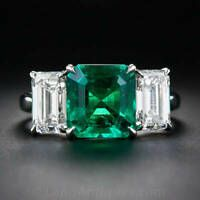 Fine Carat Emerald and Diamond Platinum Ring - Antique & Vintage Gemstone Rings - Vintage Jewelry Emerald Jewelry, Diamond Jewelry, Gemstone Jewelry, Emerald Rings, Platinum Jewelry, Turquoise Jewelry, Platinum Diamond Rings, Emerald Cut Diamonds, Vintage Style Rings