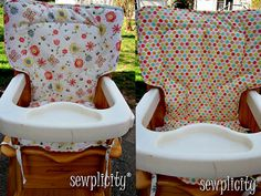 made a couple of these for Soph's high chair, different patterns tho. love.