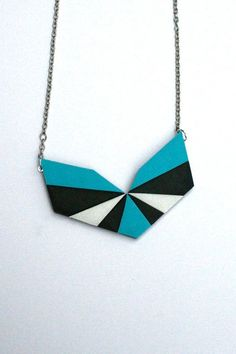 Chevron Necklace in Aqua Blue Black and Silver White - Polymer Clay Jewelry