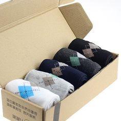 5 Pair of Quality Men's Socks with Rhombus Pattern