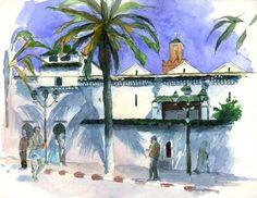 Tlemcen - La Grande Mosquée - Peinture,  50x40 cm ©2007 par Catherine Rossi -