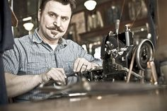 Mike Hodis of Rising Sun Jeans, Pasadena CA (Portrait of an American Craftsman by Tadd Myers) Lost In America, Blues Traveler, Living In Colorado, Environmental Portraits, American Craftsman, Working Class, Bridal Photography, Sunrise, Personal Style