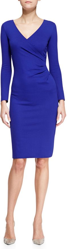 Armani Collezioni Jersey Surplice-Neck Long-Sleeve Dress