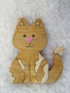 Cat brooch, cat gift, Easter gift, wooden brooch, cat badge £4.00  #catgifts #cats #catloversgift #catbrooch #giftforher Cat Lover Gifts, Cat Gifts, Cat Lovers, Spotted Cat, Unique Birthday Gifts, Paper Cover, Easter Gift, Cute Pink, Badge
