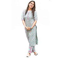 Printed Kurti, Printed Cotton, Trendy Kurti, Checkered Trousers, A Line Kurta, Star Fashion, Indian Fashion, Fashion Trends, Daily Wear