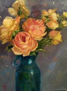 "Daily Paintworks - ""Winter Rose"" - Original Fine Art for Sale - © Krista Eaton"