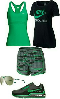 Womens fashion green black nike gym outfit