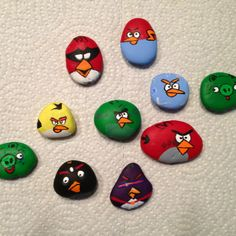 Original pin was monster rocks. With a little Googling I found Angry Birds images and we had pet rock Angry Birds. My son was so excited he had to play with them right away. Future plan is to put magnets on them and put a paper scene on a cookie sheet. Here are both links. Rocks-http://www.cocoa-bean.co.uk/users/blog/half-term-entertainment/  Cookie sheet scene-http://www.allfortheboys.com/home/tag/craft