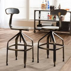 Wholesale Interiors Baxton Studio Adjustable Height Swivel Bar Stool   AllModern