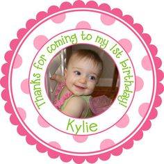 Personalized Photo Stickers - Party Favor Labels, Birthday Party Stickers, New Baby  -  Set of 32 Stickers