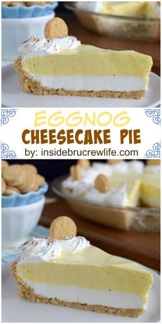 This easy no bake pie has a layer of cheesecake, eggnog pudding and a Golden Oreo crust. Perfect for the holidays. This easy no bake pie has a layer of cheesecake, eggnog pudding and a Golden Oreo crust. Perfect for the holidays. Eggnog Cheesecake, Cheesecake Recipes, Eggnog Pie, Cheesecake Crust, Vegan Cheesecake, Raspberry Cheesecake, No Bake Desserts, Just Desserts, Delicious Desserts