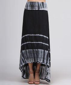 Black & White Tie-Dye Hi-Low Maxi Skirt