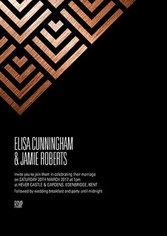 Industrial wedding invitation in copper and black.