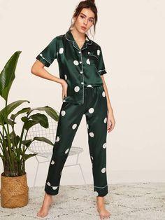 To find out about the Polka Dot Satin Pajama Set at SHEIN, part of our latest Night Sets ready to shop online today! Cute Pajama Sets, Cute Pajamas, Satin Pyjama Set, Satin Pajamas, Pyjamas, Button Up Pajamas, Pijamas Women, Mode Kimono, Cute Sleepwear