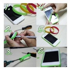 DIY phone case, try adding your rubber bracelets to a hard iphone case for extra protection, otherwise just use as a bumper.