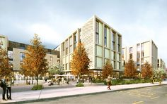 A new hospitality hub for Croydon, comprising a 435 room hotel and 158 room aparthotel with dining, conference & leisure facilities and landscaped public realm space. Thornton Heath, Public Realm, Croydon, London Hotels, Hospitality, Contemporary Design, Facade, The Neighbourhood, Street View