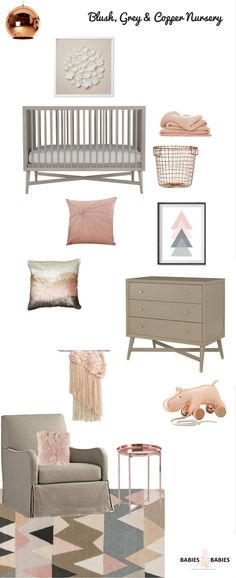 blush grey and copper nursery design