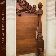 Hand Carved Walnut Bed: Fine Art Wood Carvings By Master Craftsmen - high relief acanthus leaf designer headboard and footboard with fine art quality finish Carved Beds, Hand Carved, Diy Solar System, Iphone Wallpaper Sky, Wood Bedroom Furniture, Furniture Design, Wood Carving Designs, Headboard Designs, Headboard And Footboard