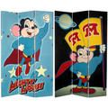 Six-Foot Tall Double Sided 'Mighty Mouse' Canvas Room Divider | Overstock.com