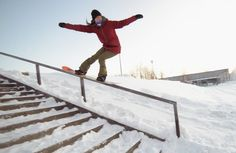 Rail session with Enni Rukajärvi in downtown Kuopio, Finland. Snowboarding, Red Bull, 2013.