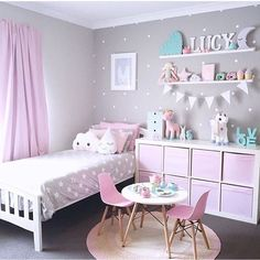 Beautiful girls bedroom. Fun ideas for styling up a girls room.   Pink colour theme with turquoise. Cloud cushion. Table and chairs set.