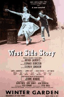 West Side Story -- fantastic musical, one of my favourites.  1957 poster.