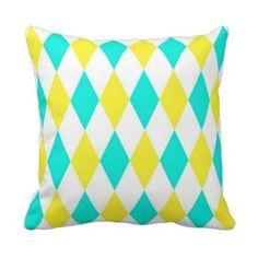 Aqua Yellow White Harlequin Diamond Pattern Pillow