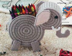 ~ ~ ~ PLASTIC CANVAS ** PATTERN ** ~ ELEPHANT CRAYON HOLDER ~ REALLY CUTE ~ ~ ~  picclick.com