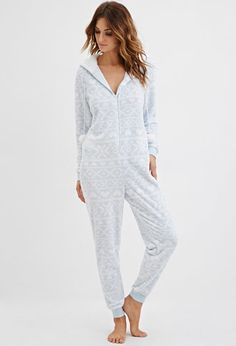 Hooded Fair Isle Plush PJ Jumpsuit | Forever 21 - 2000145388 (27.90)