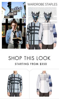 """""""Mad for Plaid Shirt"""" by yours-styling-best-friend ❤ liked on Polyvore featuring Burberry, Thom Browne, men's fashion and menswear"""