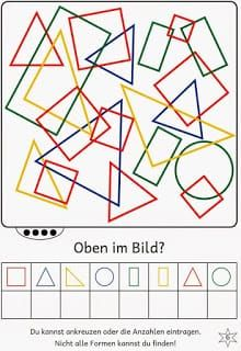 Lernstübchen: Find shapes in the picture Math Games, Preschool Activities, Teaching Kids, Kids Learning, Visual Perceptual Activities, Math Literacy, School Games, Math For Kids, Thinking Skills