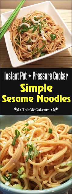 Pressure Cooker Simple Sesame Noodles are so easy and delicious and can be in your bowl ready to eat in less than 15 minutes. via @thisoldgalcooks