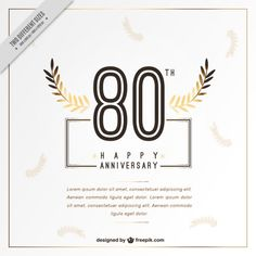 Eighty happy anniversary card with leaves Free Vector