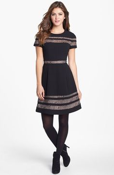 BCBGMAXAZRIA Lace Inset Fit & Flare Dress | Nordstrom - I especially like this dress with the tights! Super cute.