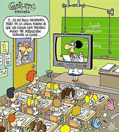 """HA!  Spanish Cartoon  """"It's a little uncomfortable, but it's the only way the kids will pay attention in class."""" #learn #spanish #kids"""
