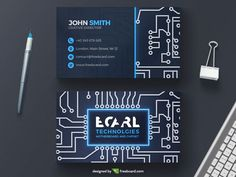 Technological circuit business card template - Freebcard