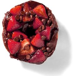 DIRTY BERRY- $4.50 Fudge Chocolate Icing with Grilled Strawberries #food #yummy #donuts #delicious #indulge #decadence #gourdoughs #texas #recipe #junkfood #sumptuous #uberyum #bestdonuts #gourdoughsdonuts #fudge #chocolate #strawberries